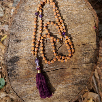 Hand Knotted 108 Japa Mala Yoga Prayer Tassel Necklace with Amethyst for Tranquility, Balance, and Peace