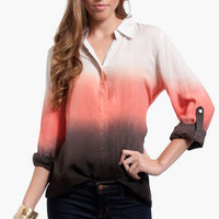 Color Fade Button Up Blouse $44