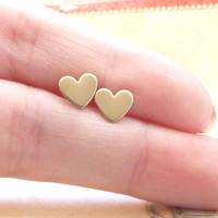 Tiny brass heart earrings