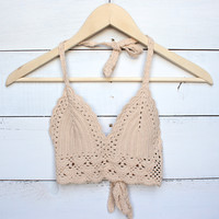 bohemian crochet crop top - nude