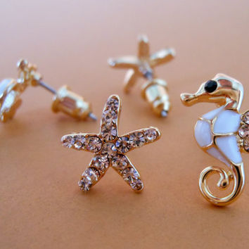 Set of Starfish and Seahorse Earring Stud Duo, Gold Filled, Black or White, Mix n Match Earrings