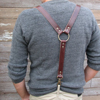 Oxblood Leather Steampunk Suspenders or Braces