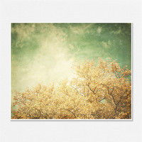 Vintage Autumn Landscape Picture - Dreamy Ethereal Golden Fall Tree Teal Aqua Sky Clouds - 8x10 - Landscape Photography Home Decor.