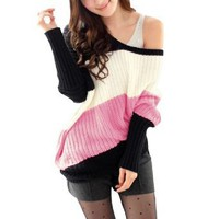 Amazon.com: Allegra K Leisure Sexy Off Shoulder Long Sleeve Autumn Sweater for Women Pink XS: Clothing