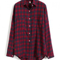Claret-red Check Blouse with Dip Hem