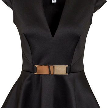 Gold Trim Peplum Top, NLY One