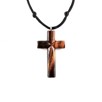 Mens Cross Necklace, Wood Cross Necklace, Wooden Cross Pendant, Cross Necklace, Christian Jewelry, Mens Cross Pendant, Hand Carved Cross