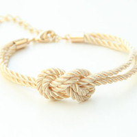 ON SALE: Bridesmaid gift - Mini Ivory silk Knot Bracelet - 24k gold plated