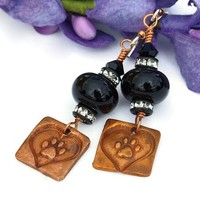 Dog Love Earrings Paw Prints Hearts Handmade Black Lampwork Copper