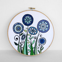 Flowers Embroidery Hoop Art, Blooms and Swirls in Blue and Green, 8 inch Hoop Wall Art by SometimesISwirl