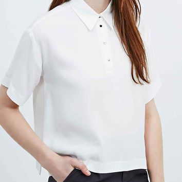 Cooperative Polo Blouse in Ivory - Urban Outfitters