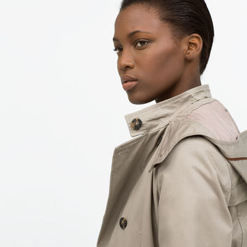HOODED COTTON TRENCHCOAT