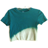Cropped Cotton Tee Shirt Crop Top Seafoam Green Size XS