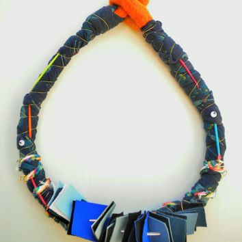 original necklace made with wool neoprene, plastic sticks, beads and t shirt