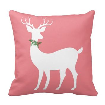 Xmas Reindeer w Holly, White on Rose Pillow