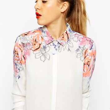 ASOS TALL Pretty Floral Placement Print Blouse