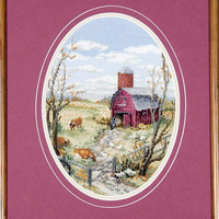 The Barnyard -  A Framed Cross Stitch Picture