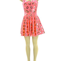 Coral Kisses Fit and Flare UV NEON Glow Skater Dress
