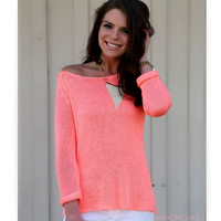 Fashonista By Night Neon Pink Knit Summer Sweater