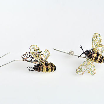 Bee earrings Bee jewelry Wire bee tiny sculpture Bee art jewelry Long hook earrings Insect Different earrings Delicate earrings Art earrings