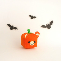 Pumpkin Bear Halloween Pincushion, stuffed and soft toy, ready to ship