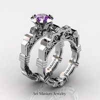 Caravaggio Modern 14K White Gold 1.0 Ct Amethyst Diamond Engagement Ring Wedding Band Set R624S-14KWGDAM