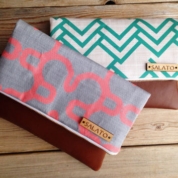Coral and Grey Print clutch, leather clutch, leather fold over clutch, triangle clutch, chevron clutch,