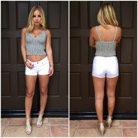 Angel Knit Crop Tank In Grey