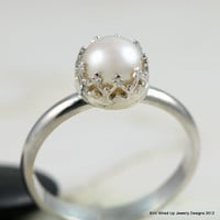Pearl and Sterling Silver Ring - 8-8.5mm Pearl
