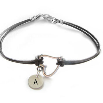 Silver Heart Bracelet Wire Wrapped Hand Stamped sterling silver Initial Leather Suede Jewelry Gift for Birthday Wedding