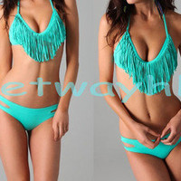 Padded Boho Foxy fringe V Halterneck dolly bikini Swimwear Aqua Blue S M L