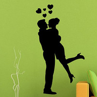 Wall Decals Vinyl Decal Sticker Living Room I Love You Valentine's Day Decor Kissing Couple Man Woman Lovers Love Kiss Hearts Design KT72 - Edit Listing - Etsy