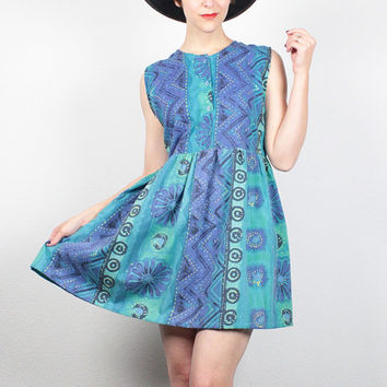Vintage 90s Dress Teal Blue Green Purple Abstract Boho Mini Dress 1990s Dress Babydoll Dress Soft Grunge Dress Lolita Sundress S M Medium L