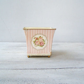 Shabby Romantic Planter, Distressed Metal Square Plant Pot, Pink Rose Antique white French Country Home Decor, Collectible Shelf Decoration