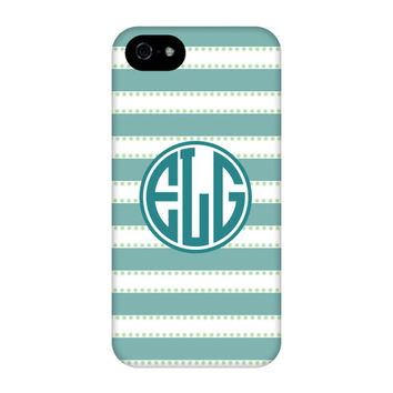 Light Teal Stripes Monogram Phone Case
