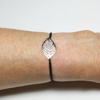 Leaf Wish Bracelet or Anklet, Filigree Leaf, Bright Silver Finish