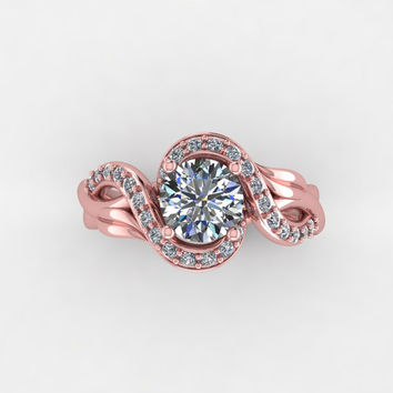 Rose gold  engagement ring, with moissanite center, style 8RGDM
