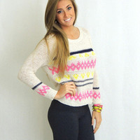 Sunday Morning Tri Colored Sweater -  $39.00 | Daily Chic Tops | International Shipping