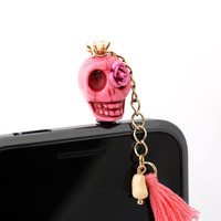 SKULL CANDY, DECORATED WITH TASSLE iphone dust plug | girlsluv.it - handmade jewelry collection, ETSY, Artfire, Zibbet, Earrings, Necklace