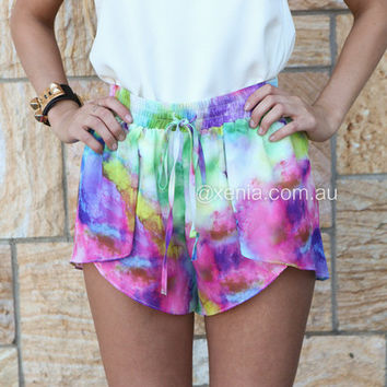 Cosmic Tie Dye Shorts | Xenia Boutique