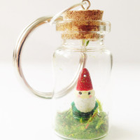 Gnome Moss Terrarium in Tiny Bottle Keychain Keyring