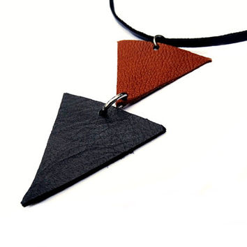 Contemporary Necklace, Grey & Brown Leather Necklace, Leather Pendant Necklace, Geometric Leather Necklace