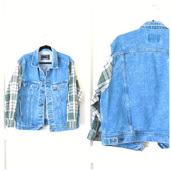 upcycled DENIM jacket vintage 90s GRUNGE flannel plaid sleeves oversized relxed fit UNISEX distressed jean jacket os