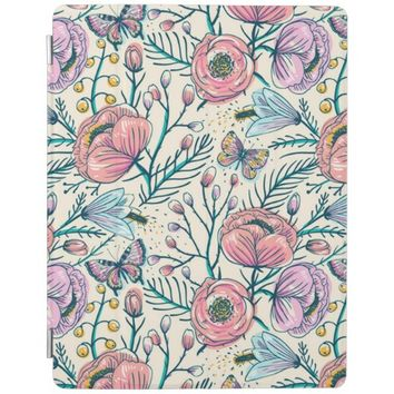 Vintage Rose Garden Flower Pattern iPad Cover