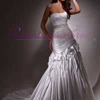 Unique Mermaid Strapless Satin Beach Wedding Dress-$355.99-ReliableTrustStore.com