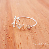 Love ring, wire love ring, Silver Filled