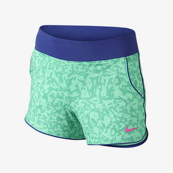 "The Nike 3"" Sport Knit Allover Print Girls' Training Shorts."