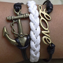 Bronze anchor and love bracelets infinite snow white wax line, Black wax wire braided Bracelet