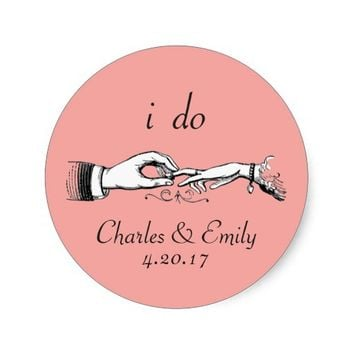 Vintage Wedding Ring Personalized Coral Sticker