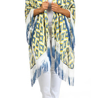 Plus Size Boho Printed Fringe Accent Cardigan